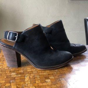 "Lucky Brand open back with buckle 3"" heel booties"